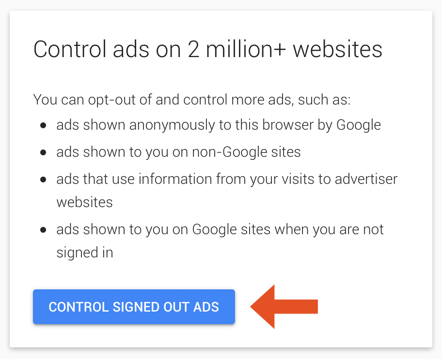 Screenshot showing how to opt out of Google's signed-out ads.