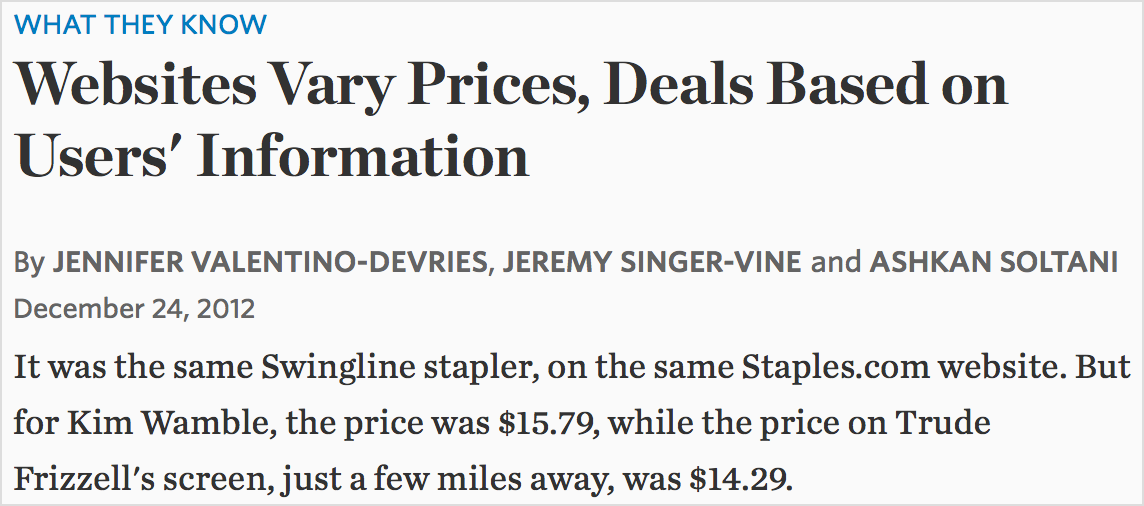 "Screenshot of Wall Street Journal study: ""Websites vary prices, deals based on users' information""."