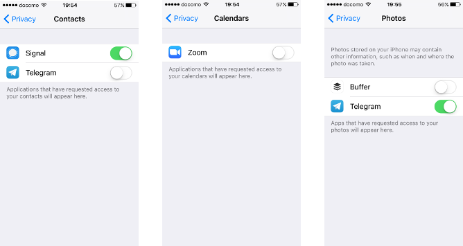 Screenshots of disabling app access to Calendar, Contacts and Photos on an iPhone.