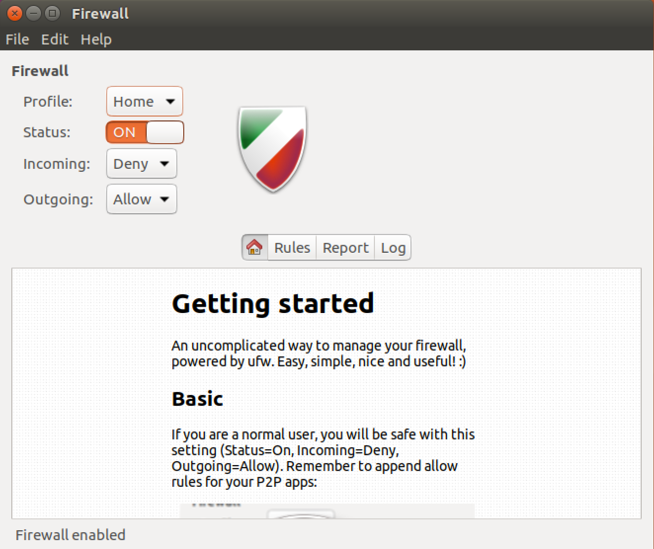 Screenshot showing firewall settings on Linux