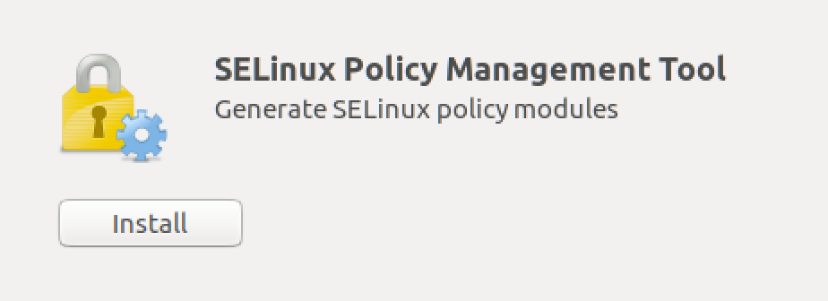 Screenshot showing the SELinux installation button on Linux