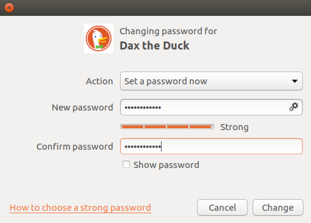 Screenshot showing setting a password on Linux