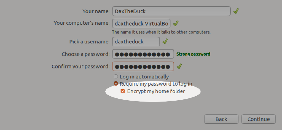 Screenshot showing home directory encryption on Linux