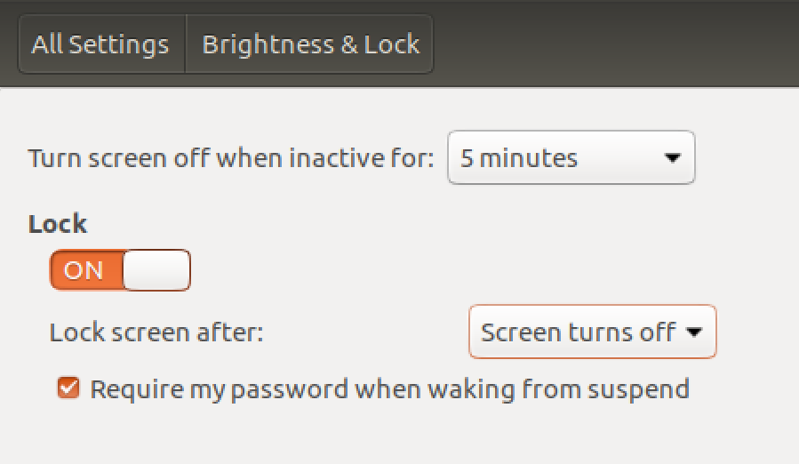 Screenshot showing screensaver settings for Linux