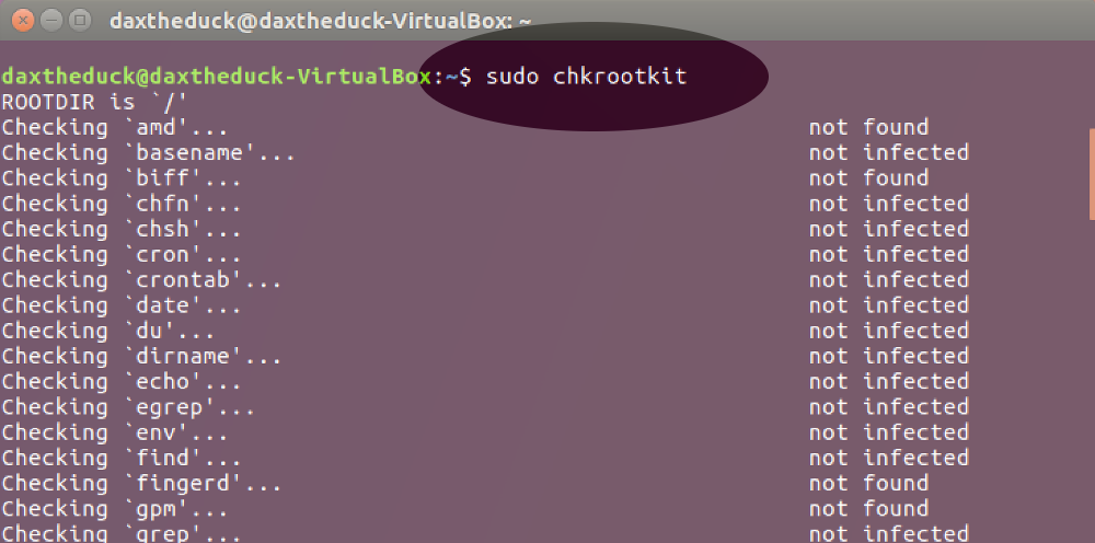 Screenshot showing the use of the 'chkrootkit' command on Linux
