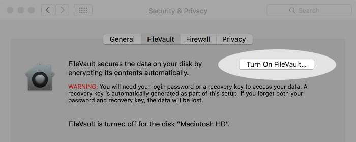 Screenshot of FileVault window on macOS.