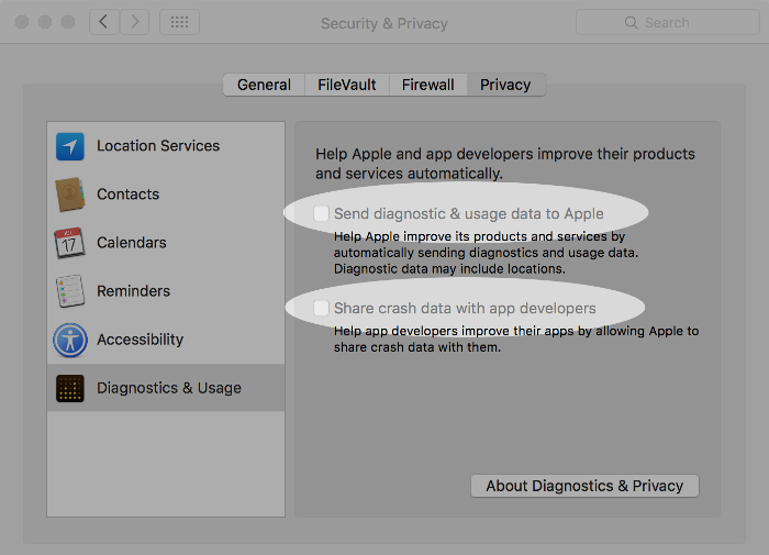 Screenshots of disabling diagnostic data sending in macOS.