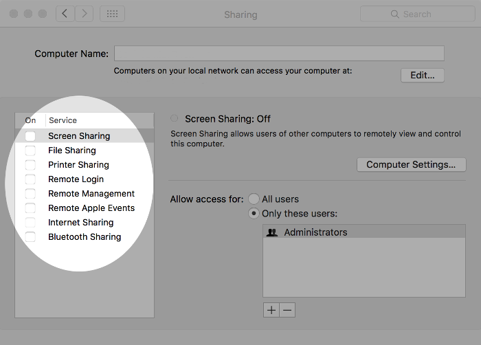 Screenshot of list of sharing services on macOS.