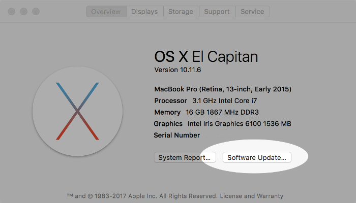 Screenshot of software update button on macOS.