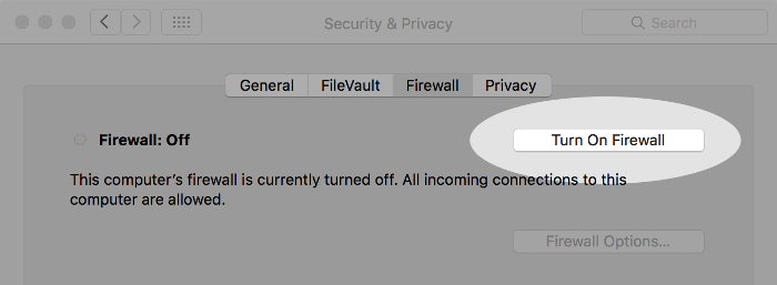 Screenshot of firewall button on macOS.