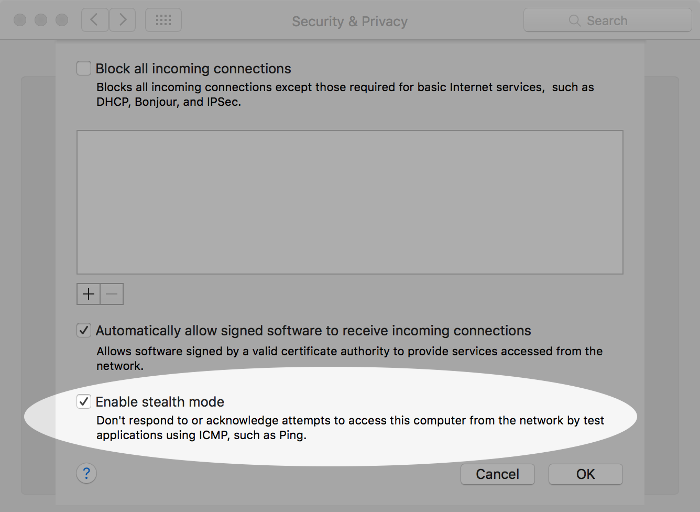 Screenshot of enabling stealth mode on macOS.