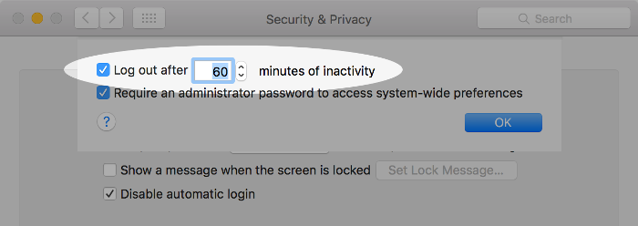 Screenshot of setting automatic log out on macOS.