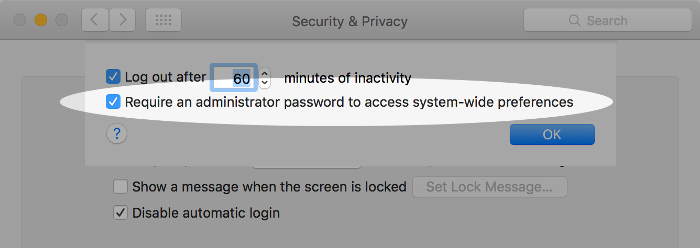 Screenshot of requiring an admin password on macOS.