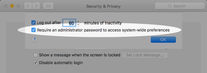 Screenshot of requiring an admin password on macOS. 26a2fa721