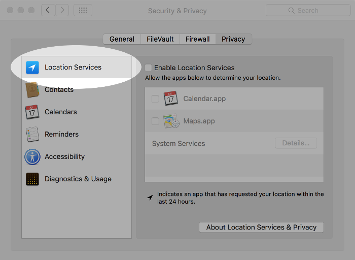 Screenshot of controlling location services on macOS.