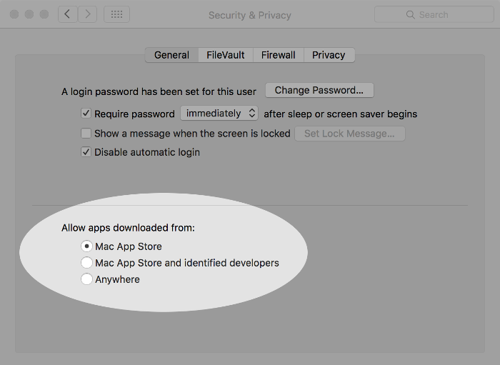 Screenshot of restricting app sources on macOS.