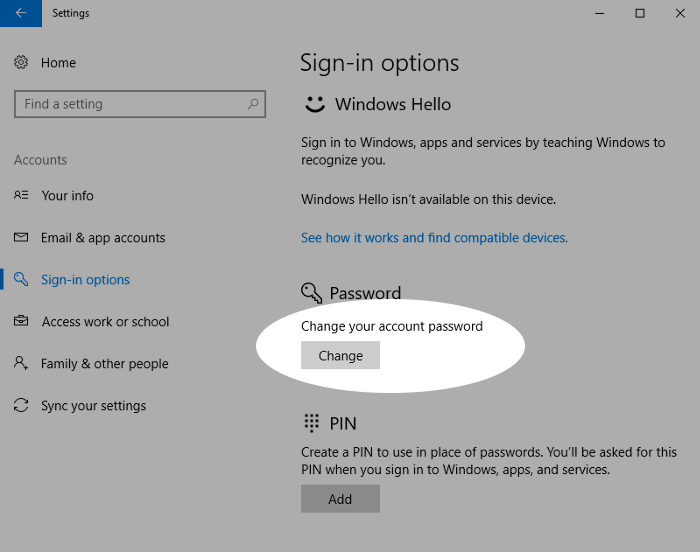 Screenshot showing changing a Windows 10 account password
