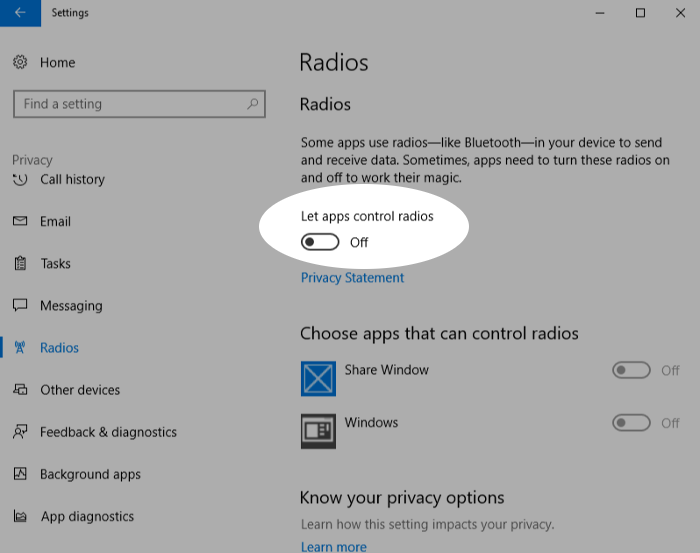 Screenshot showing disabling radios in Windows 10