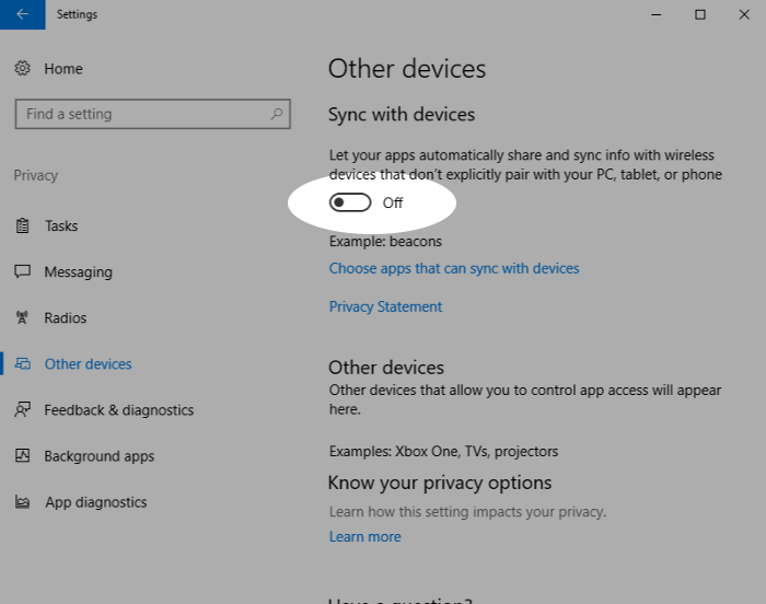 Screenshot showing disabling automatic sync in Windows 10