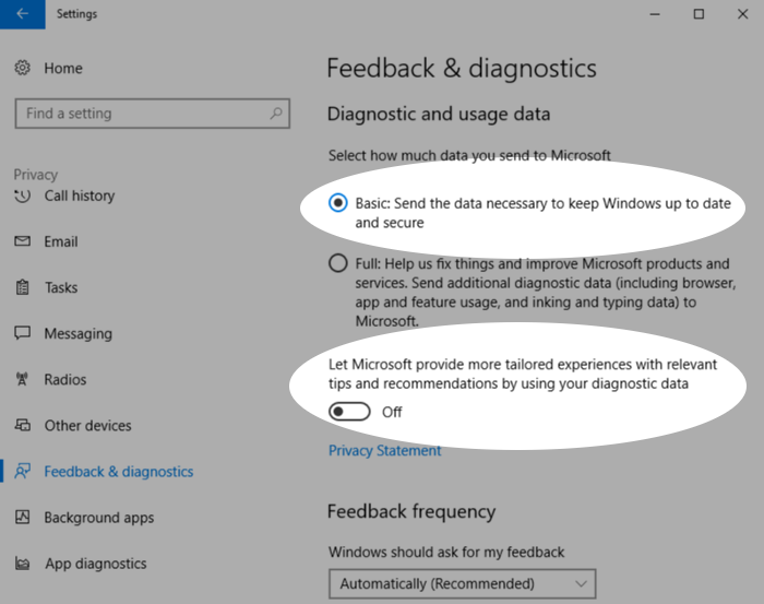 Screenshot showing control of data sent to Microsoft in Windows 10