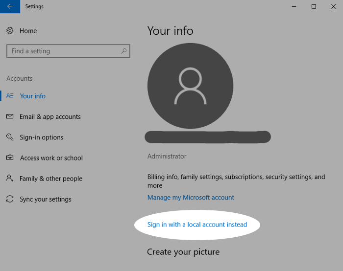 Screenshot showing use of a local account in Windows 10