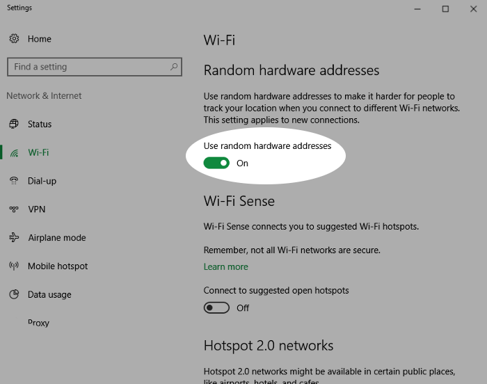 Screenshot showing enabling a random hardware address on Windows 10