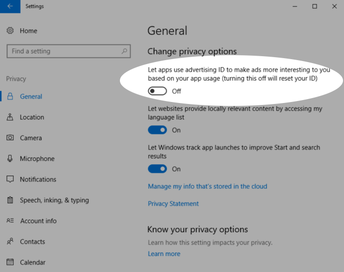 Screenshot showing hiding advertising ID in Windows 10