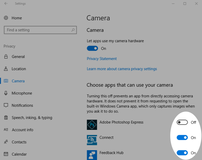 Screenshot showing camera access in Windows 10