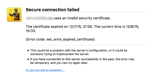 Example of a security certificate warning.