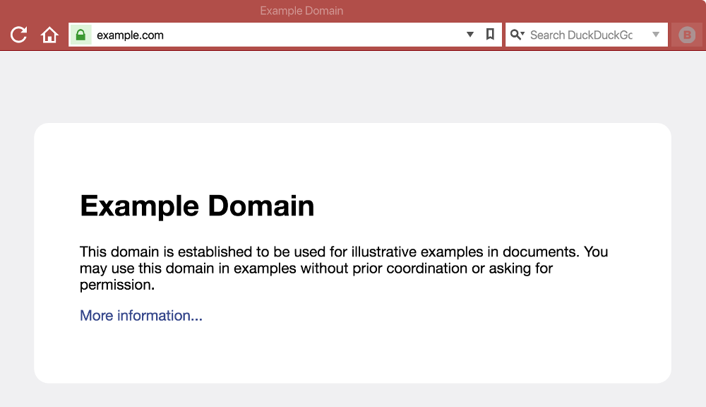 How example.com looks in a browser.