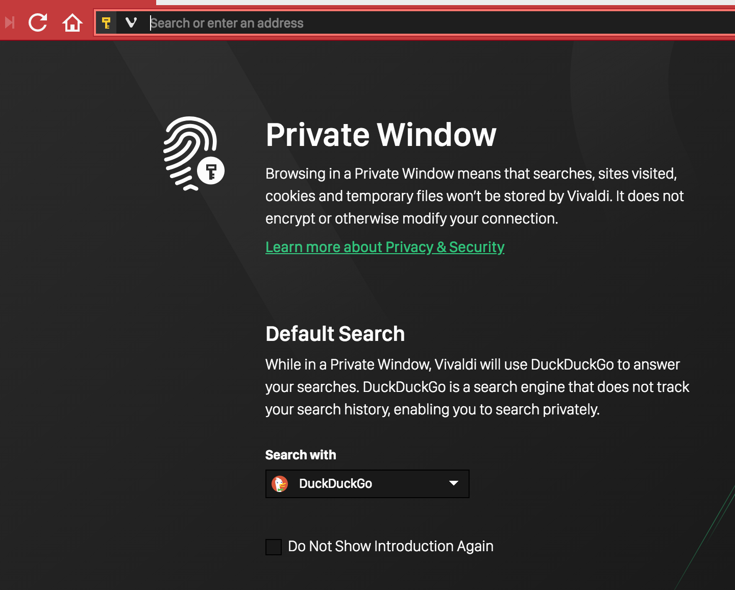 Default Private Search in Private Browsing Mode