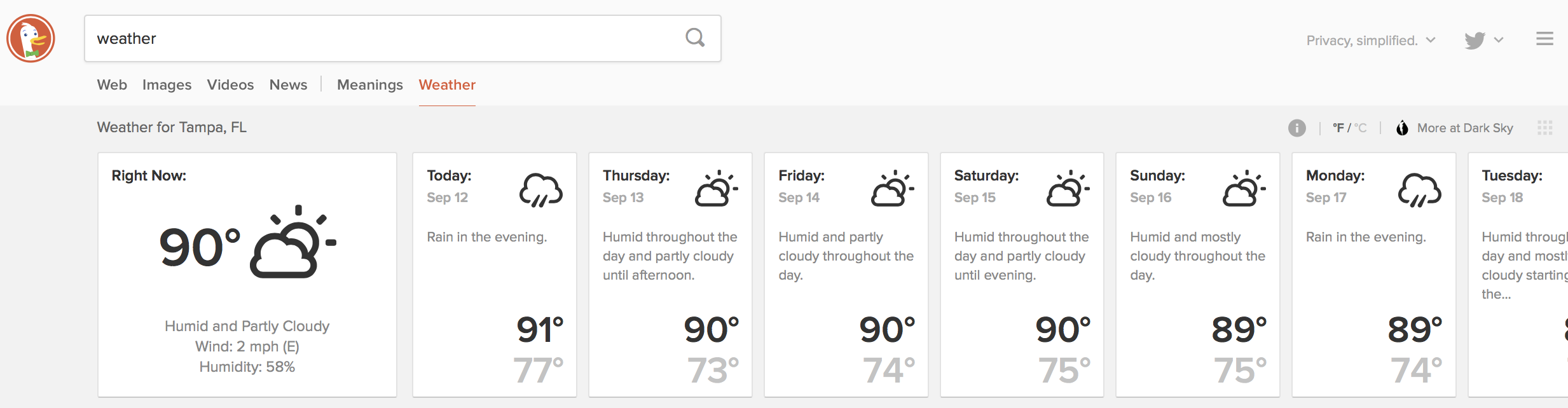 Screenshot of localized weather results from DuckDuckGo.
