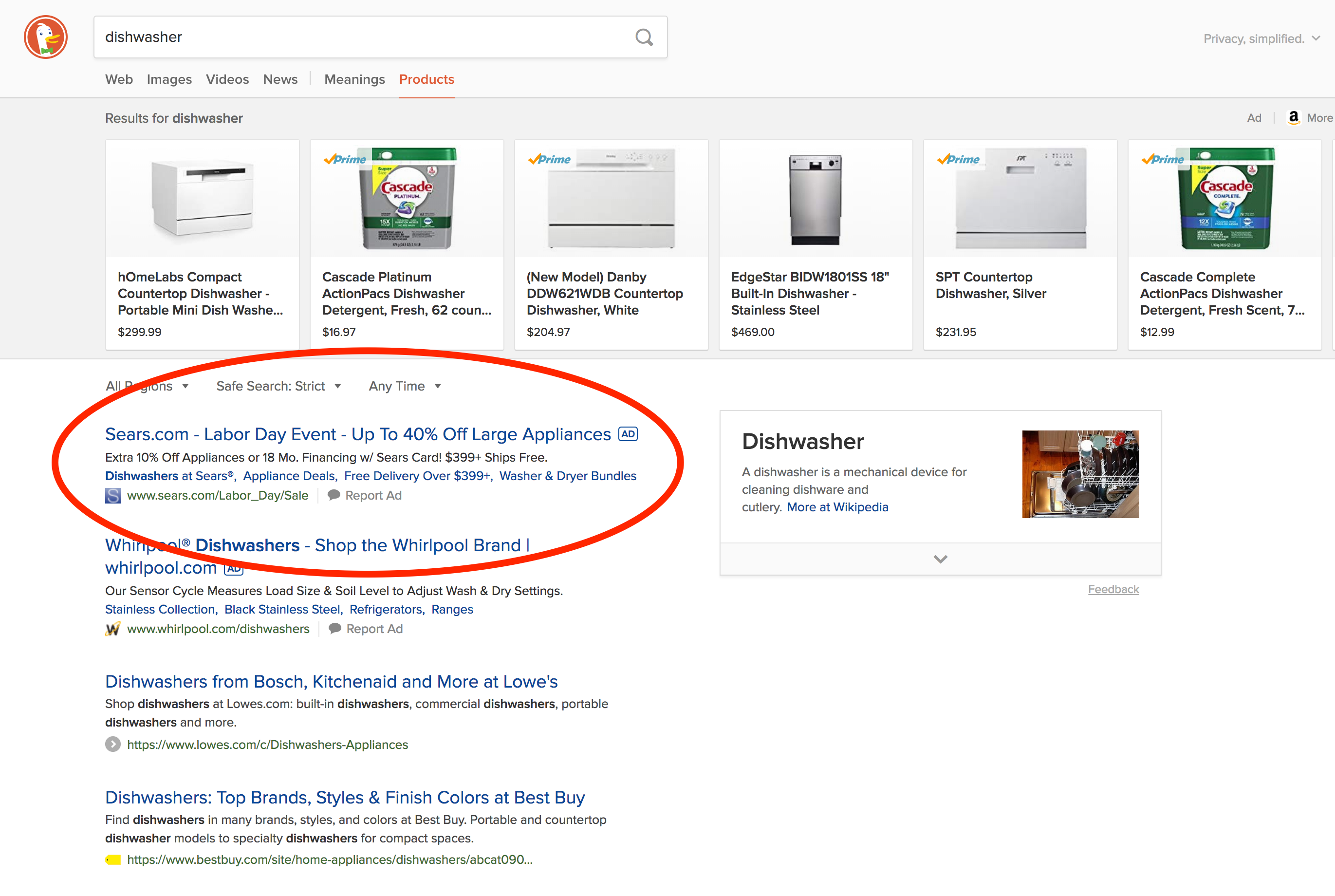 "Screenshot of the DuckDuckGo search engine results page for ""dishwasher"" highlighting the two dishwasher ads served at the top of the page"