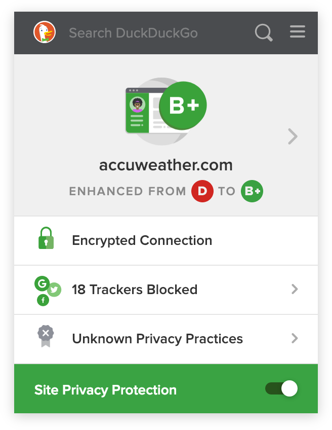 Screenshot of the DuckDuckGo browser extension, blocking trackers on accuweather.com