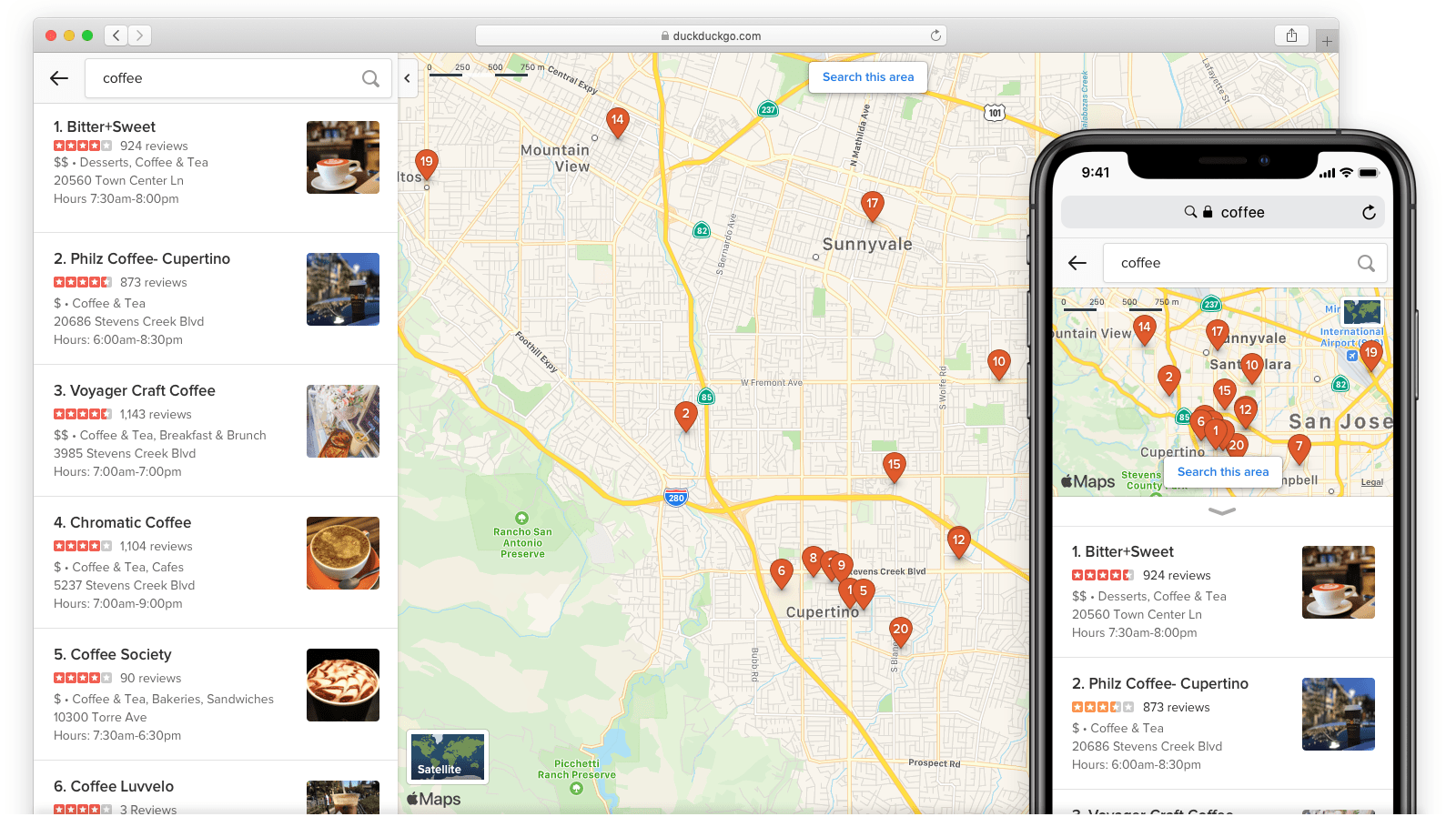Screenshot showing multiple location results for a search for 'coffee'.