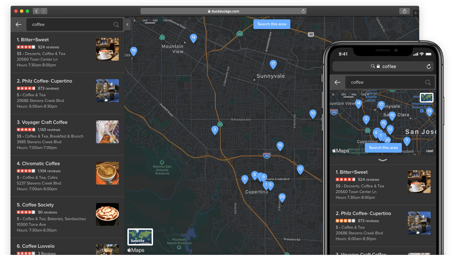 Screenshot showing Apple Maps dark mode within DuckDuckGo's dark theme.