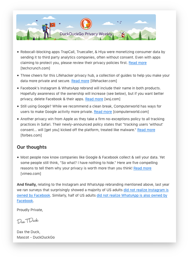 Image showing a sample edition of the DuckDuckGo Privacy Weekly newsletter.