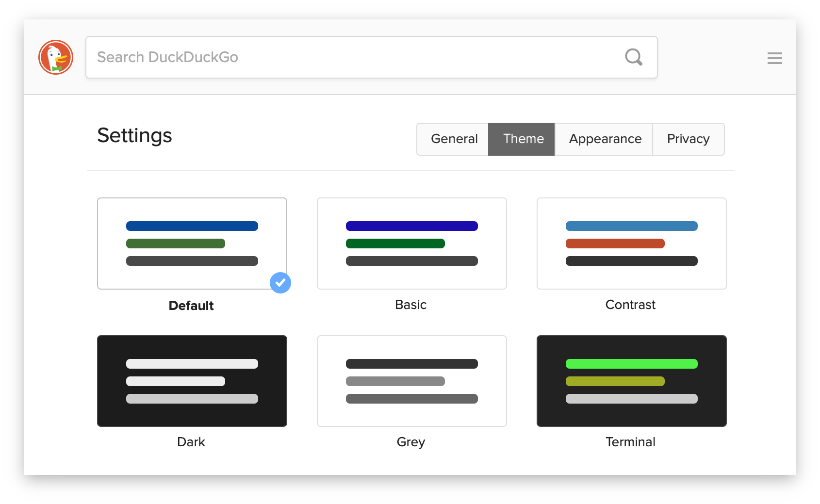 Screenshot showing the themes available in DuckDuckGo Search.
