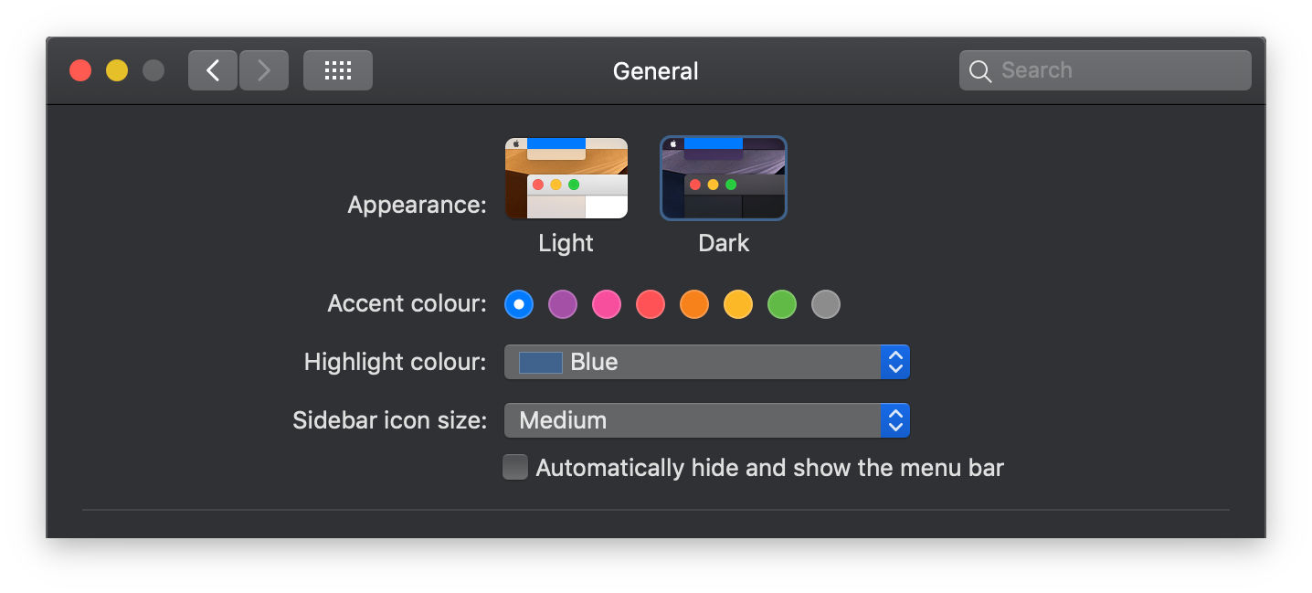 Screenshot showing the dark mode selector in macOS.