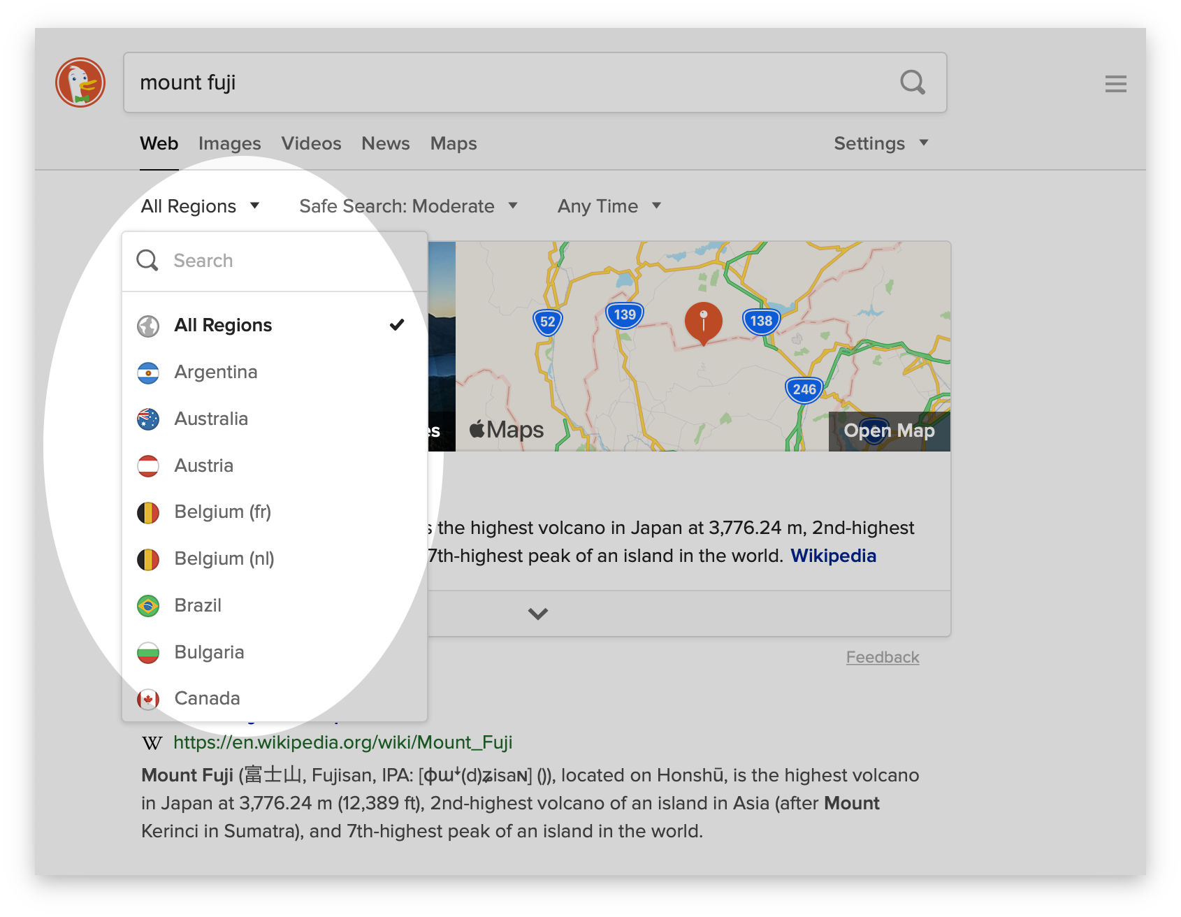 Screenshot showing the region filter in DuckDuckGo Search.