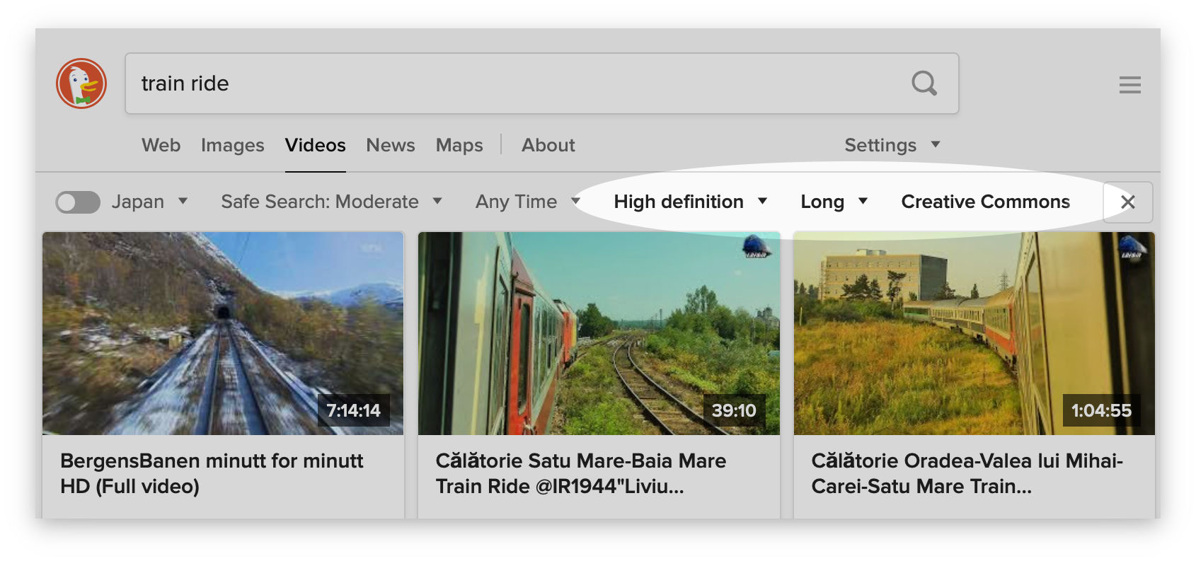 Screenshot showing the video filters in DuckDuckGo Search.