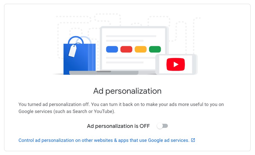 Screenshot showing how to disable Google's ad personalization.
