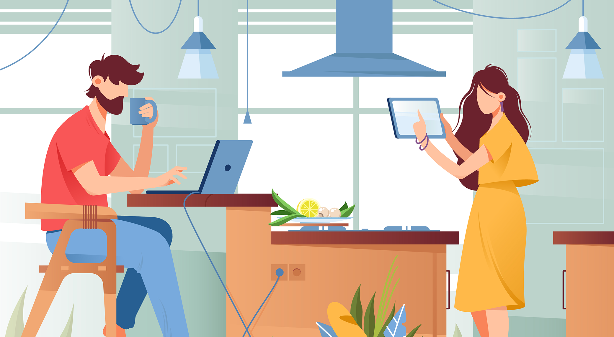 Illustration of couple working remotely from their home