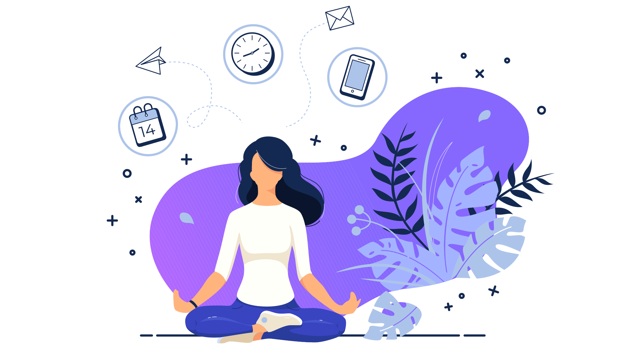 Illustration of woman taking a break from work to meditate