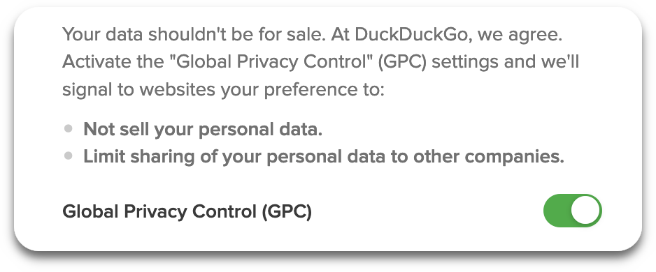 Screenshot showing the GPC setting enabled in the DuckDuckGo desktop extension.